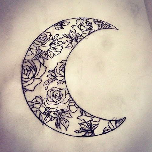 Flower Design Moon Tattoos