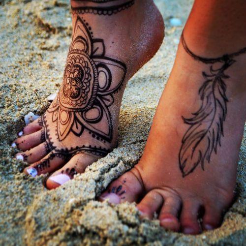 Flower Tribal Tattoos on Foot