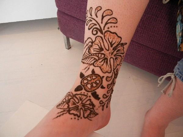 Henna Flower And Turtle Tattoos