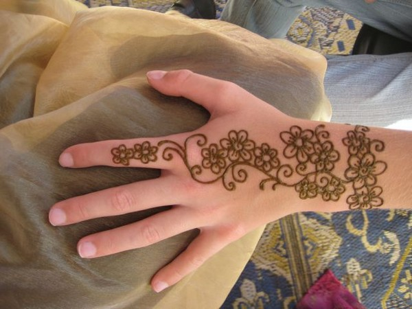 Henna Flowers Tattoo On Back Hand