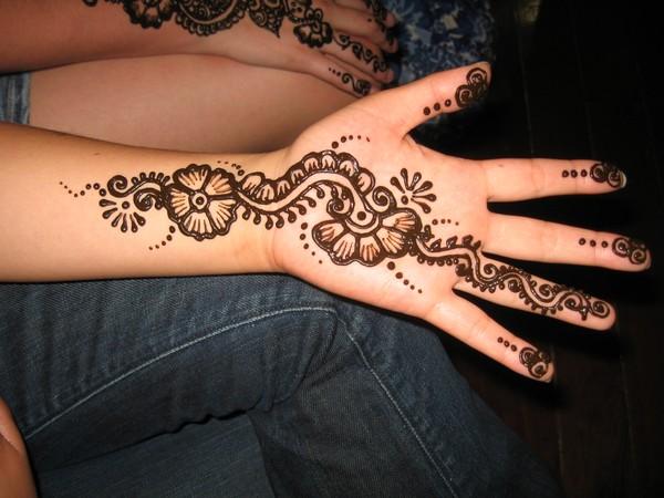 Henna Flowers Tattoo On Hand