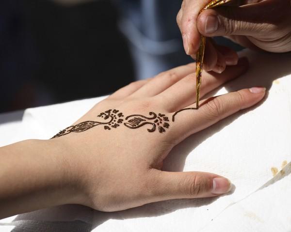 Henna Hand Tattoo In Process