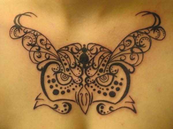 Henna Owl Head Tattoo