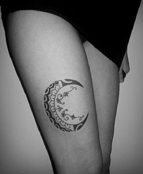 Leg Crescent Moon Tattoos