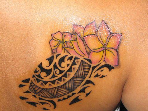 Lovely Flower with Tribal Tattoos