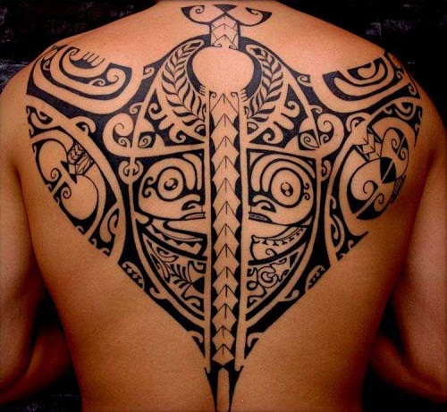 Manta Ray Back Tribal Tattoos