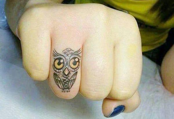 Owl Finger Tattoo