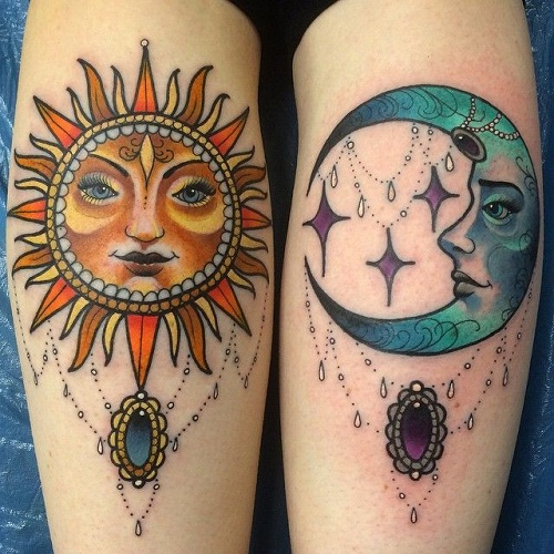 Pretty Colored Sun and Moon Tattoos