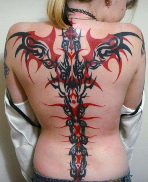 Red and Black Tribal Tattoos