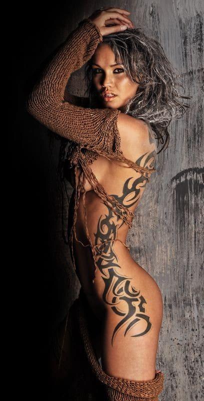 Side Body Sexy Tribal Tattoos Design