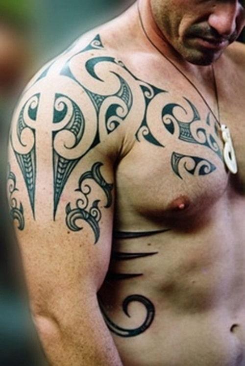 Simple Tribal Tattoos on Half Body