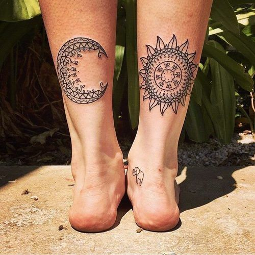 Tribal Design Sun and Moon Tattoos