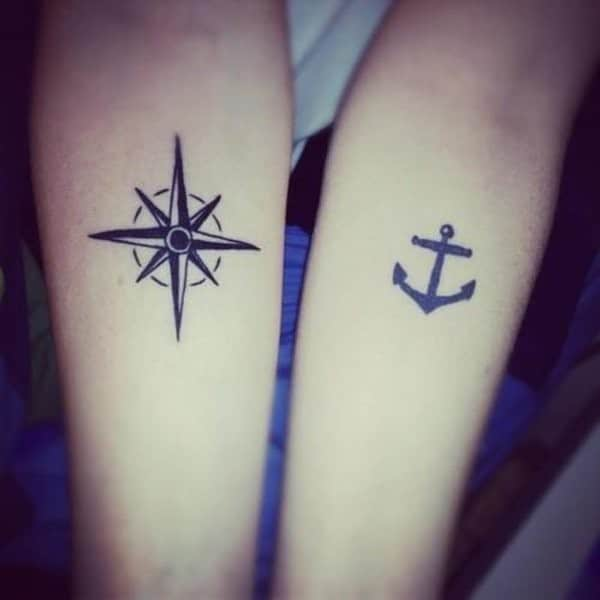 Compass And Anchor Matching Tattoos