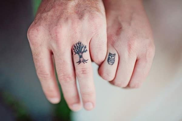 Tree And Owl Matching Tattoos