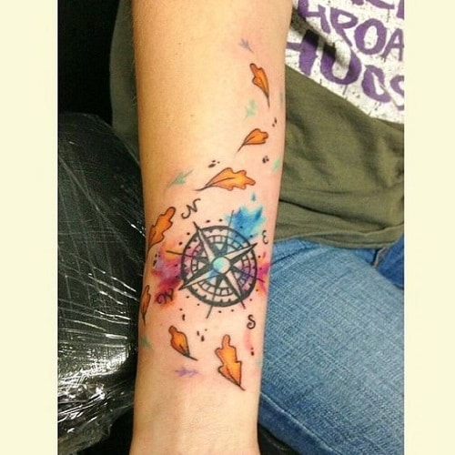 Amazing Compass Tattoo with Colors on Arm
