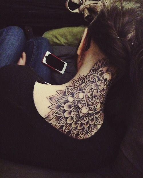 Awesome Tribal Mandala Neck Tattoo