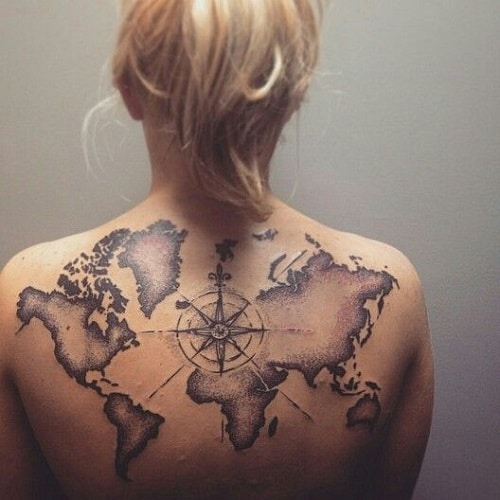 Back Compass Tattoo with World Map