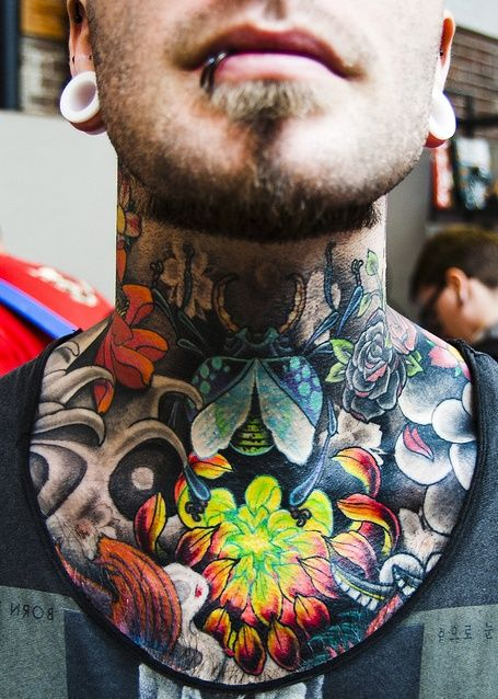 Blue Beetle and Colorful Flowers Neck Tattoo