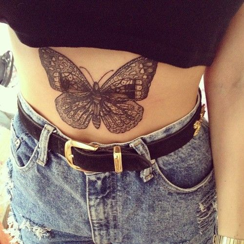 Butterfly Stomach Tattoo