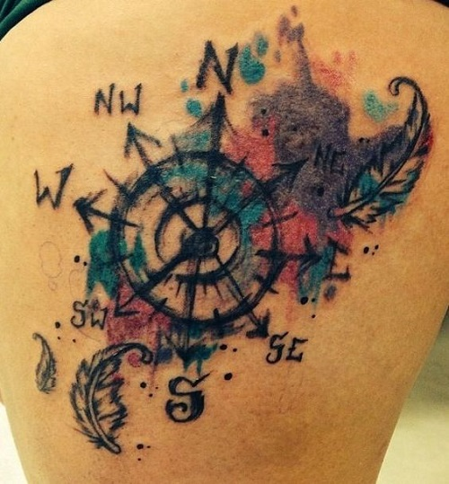 Colorful Compass with Feathers Tattoo
