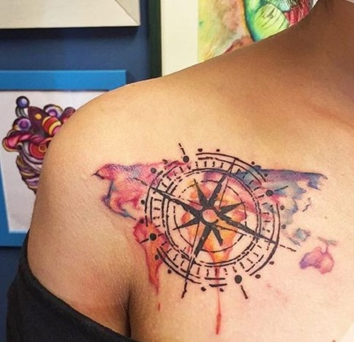 Colorful Map Compass Tattoo