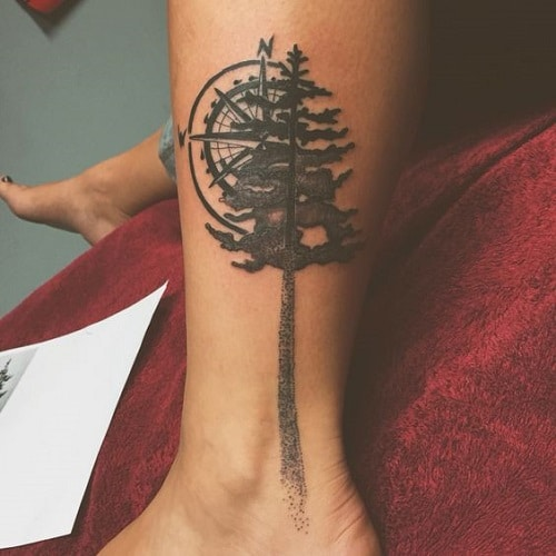 Compass Tattoo Behind a Tree