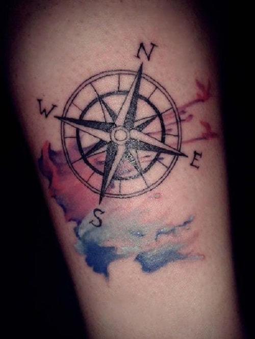 Compass Tattoo on Arm with Bird and Colors