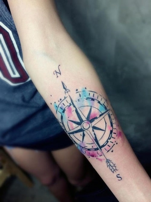 Compass Tattoo with Color