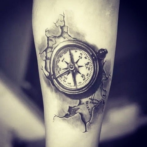 Compass Tattoo with Map Around