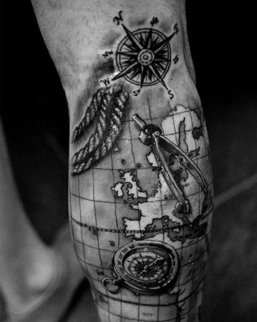 Compass Tattoos with Map on Arm