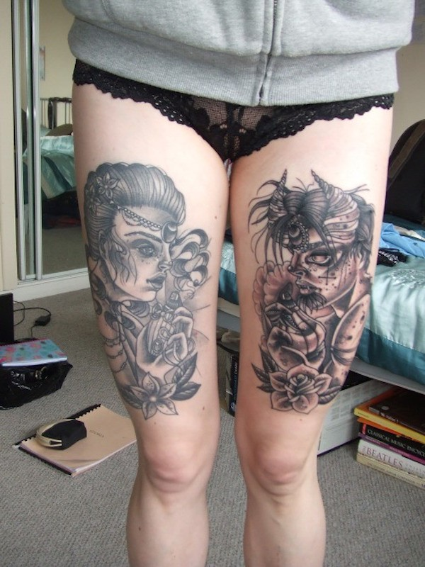 Cool Thigh Tattoos For Guys