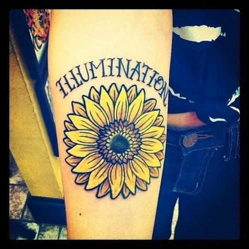 Illumination Yellow Sunflower Tattoo