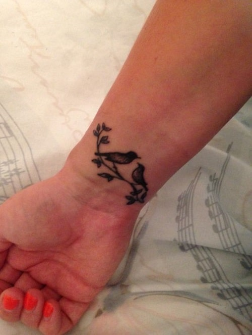Lovebirds Tattoos on Wrist