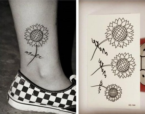Mate Sunflower Tattoo Above Ankle