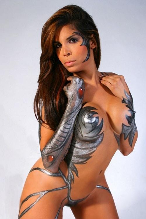 Metal Body Paint on Female Model