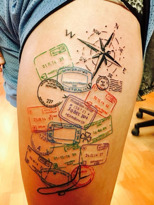 Passport Stamps with Compass Tattoo