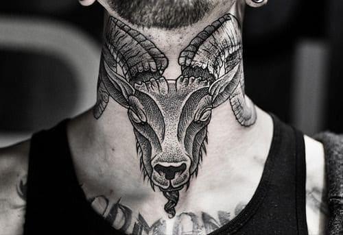Ram Head Neck Tattoo