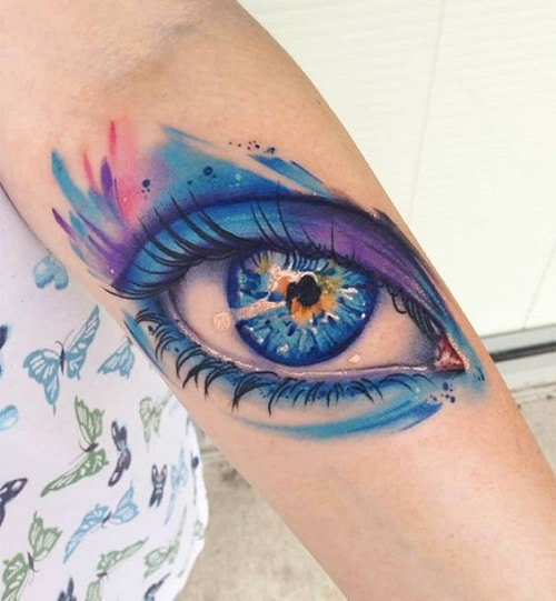 Realistic 3D Colorful Eye Tattoo on Arm Inspiration