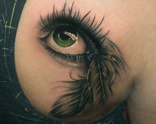 Realistic Eye Tattoo with Feathers