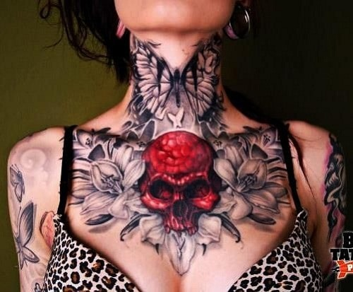 Red Skull with Black Butterfly Neck Tattoo