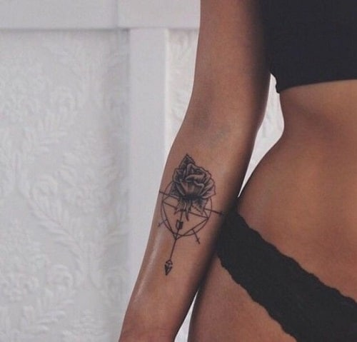 Rose, Cross and Arrow on Compass Tattoo