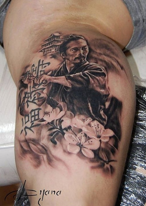 Samurai Tattoo with Castle, Flowers and Writing