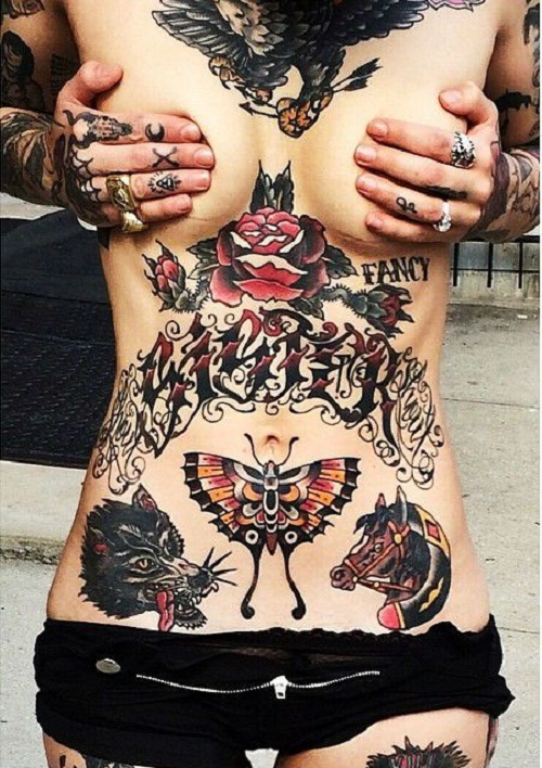 Sister, Animals and Butterfly Stomach Tattoo