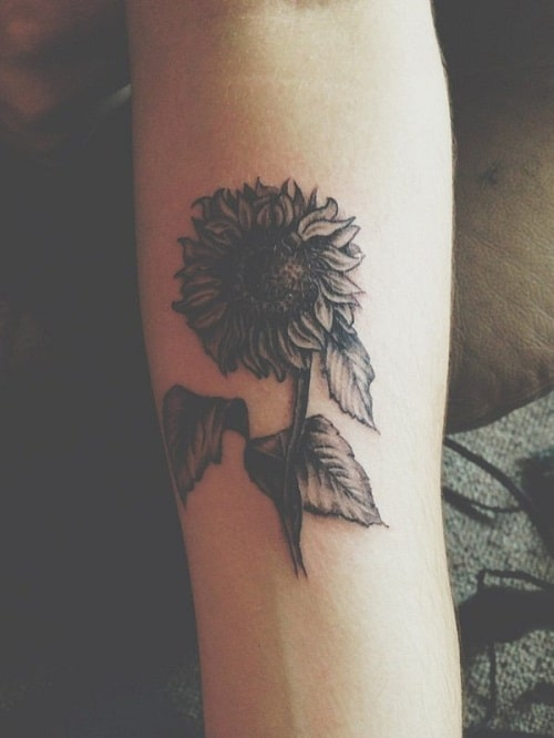 Small Sunflower on Arm Tattoo
