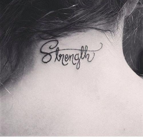 Strength Neck Tattoo