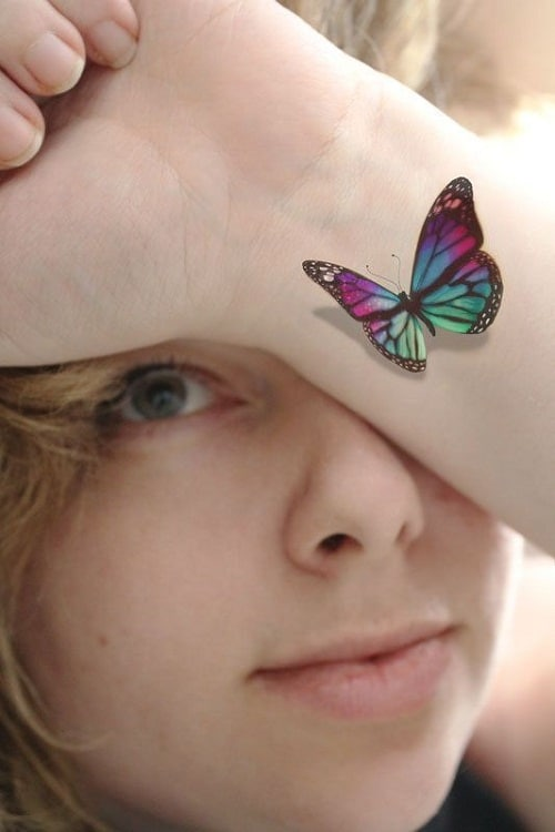 3D Colorful Butterfly Tattoo on Wrist
