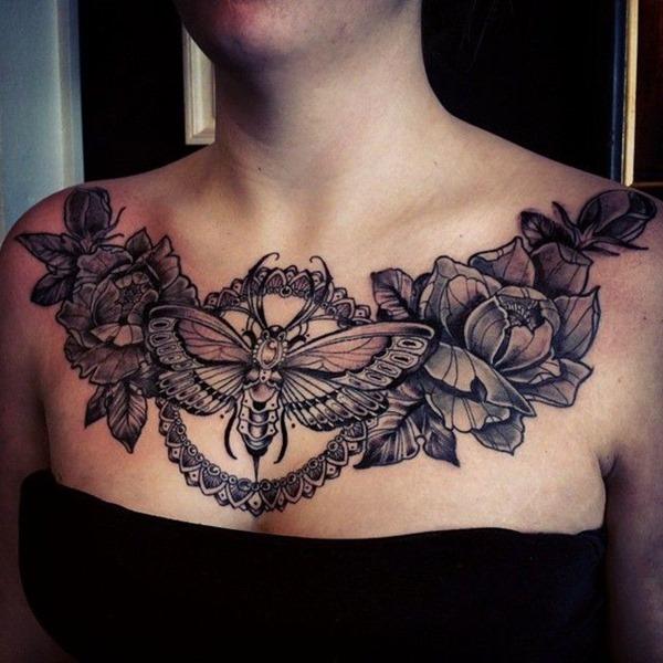 Amazing Chest Bee Tattoos