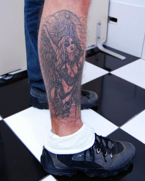 Angel Leg Tattoo