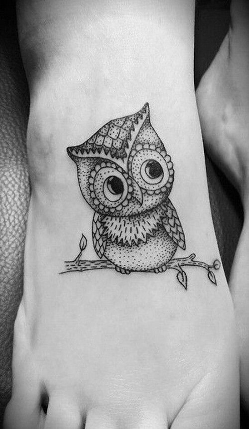 Baby Owl Sitting on a Branch Foot Tattoo