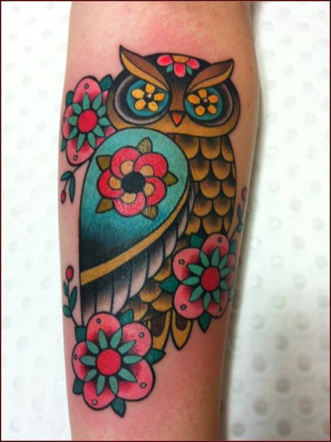 Beautiful Flowers on Owl Tattoo